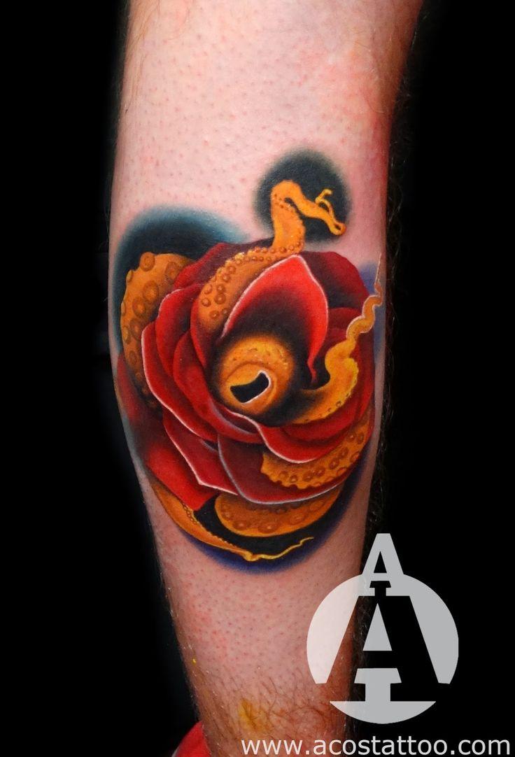 Watercolor tattoo artists in houston texas - Andr S Acosta Tattoo Artist Houston Tx Octopus Rose Morph Tattoo