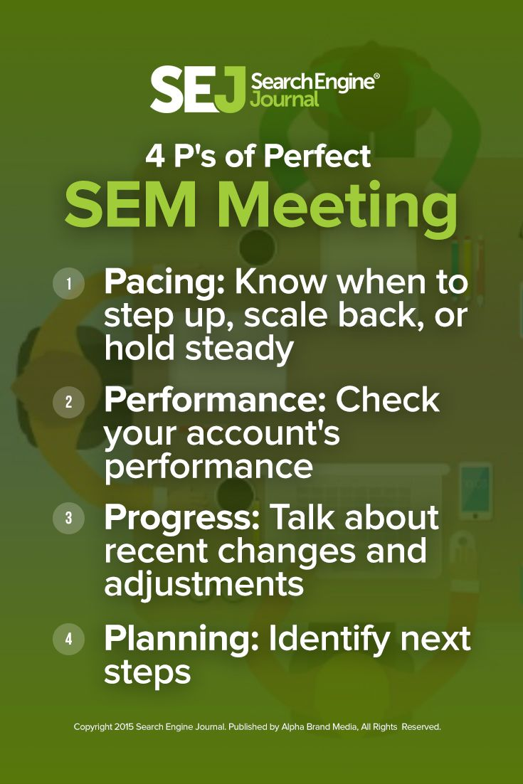 Want a hyper focused, productive search engine marketing meeting? Discover the essential steps to get focused, powerful results in your SEM meetings. https://www.searchenginejournal.com/4-ps-of-a-perfect-sem-meeting/162524/