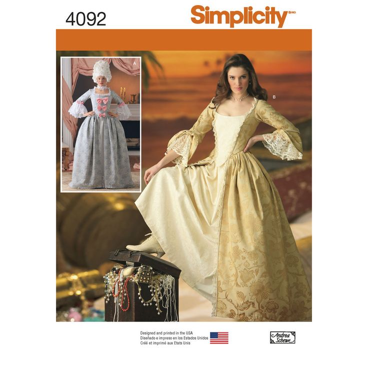 Simplicity 4092  I like the look of the second gown because it looks very POTC, however, history nerd I am, I would adapt the pattern to close at the stomacher, not a zipper.