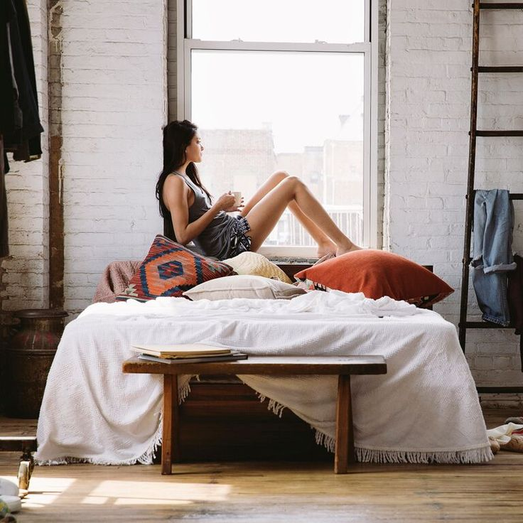 The Tuft & Needle mattress - a bohemian bedroom's dream.