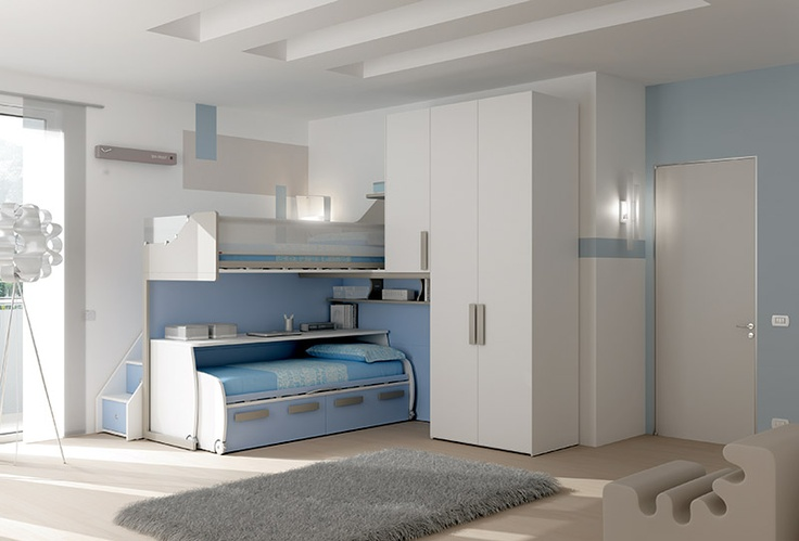 """#Arredamento #Cameretta Moretti Compact: Collezione 2012 """"Team"""" > Kids – Soluzione a #Soppalco >> ks24 http://www.moretticompact.it/kids.htm"""