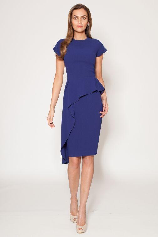 Sapphire Peplum Dress with Ruffle Detail | Teri Jon