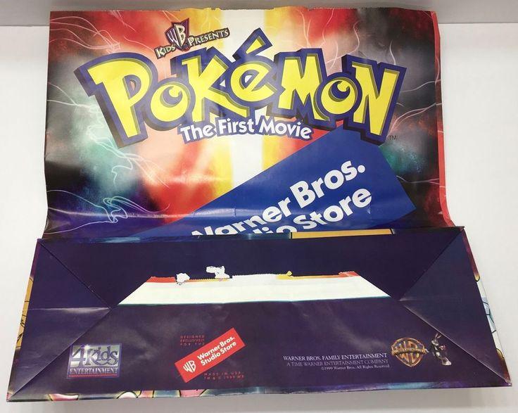 Vintage Pokemon Warner Bros. Studio Store Giant Shopping Bag The First Movie NEW