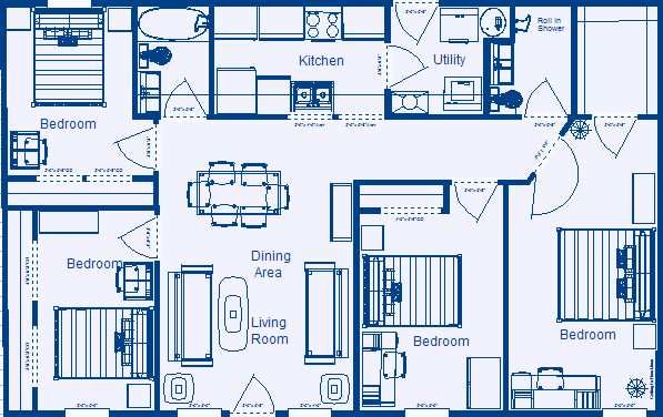 Home floor plan 1232 4 bedroom 2 bathroom low for Simple four bedroom house plans