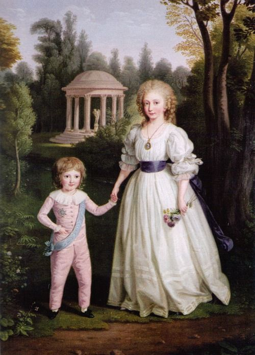 A portrait of Louis-Charles and Marie-Therese Charlotte, children of Louis XVI and Marie Antoinette by Ludwig Guttenbrunn. 18th century.  source: my scan; Marie-Therese: The Fate of Marie-Antoinette's Daughter by Susan Nagel
