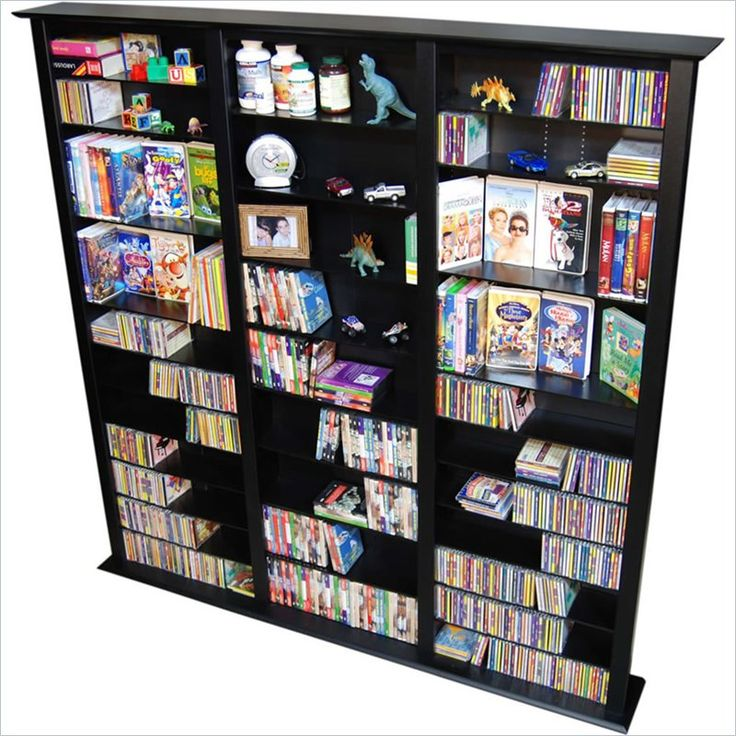 Venture Horizon Triple 76-Inch Tall CD DVD Wall Rack Media Storage, Available in Multiple Finishes