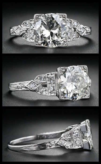 Art Deco diamond engagement ring with a 1.40 carat European-cut center diamond, circa 1920s-1930s. Via Diamonds in the Library.