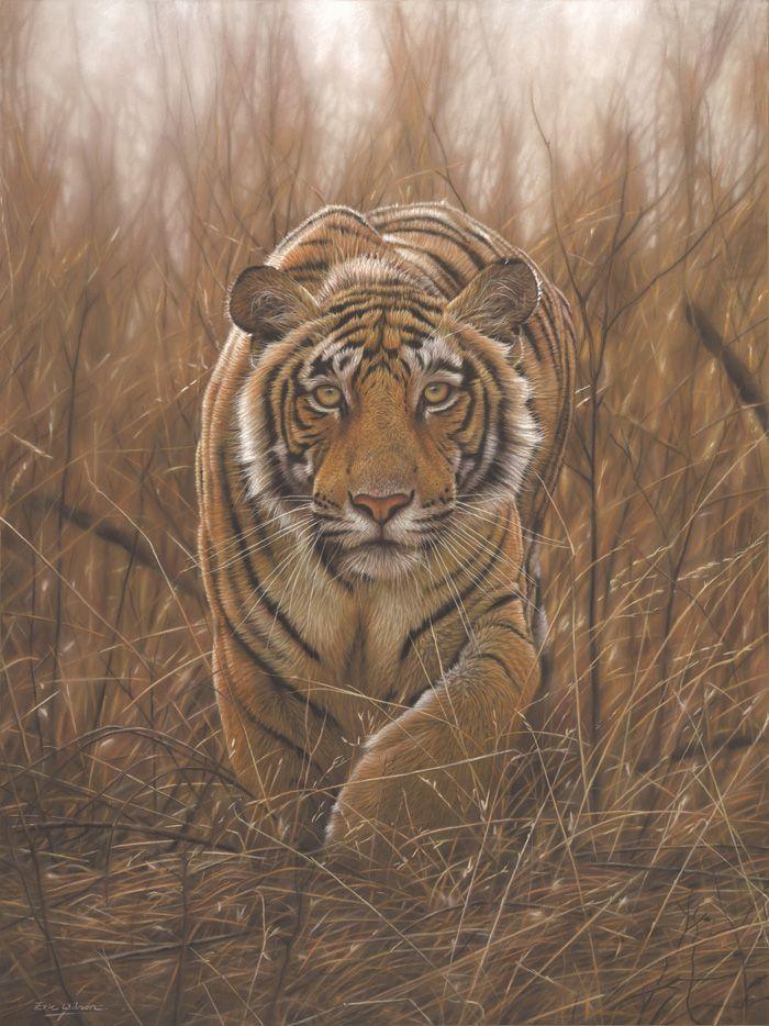 Deerstalker Original Pastel Painting Of A Tiger By