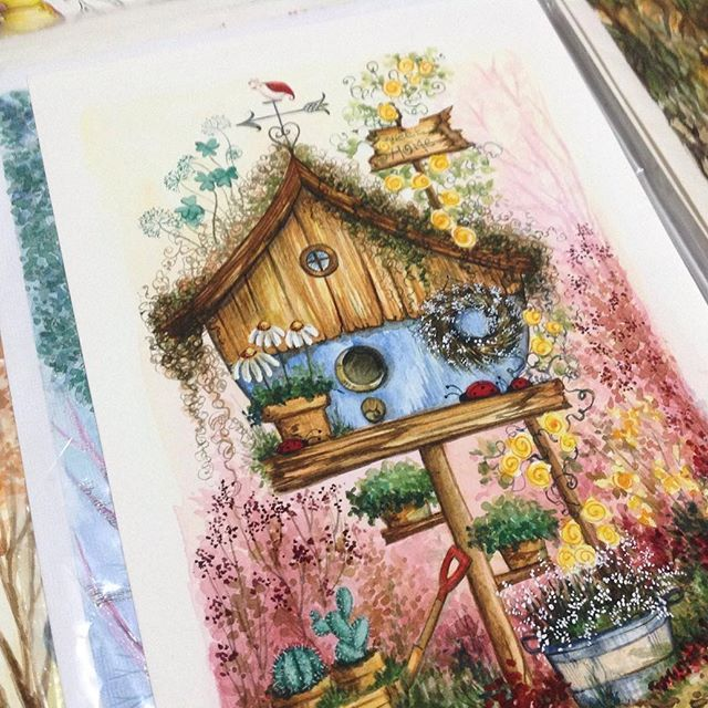 Adult Coloring Colouring Books Copic Birdhouse Instagram Sign Friends Family In Vintage