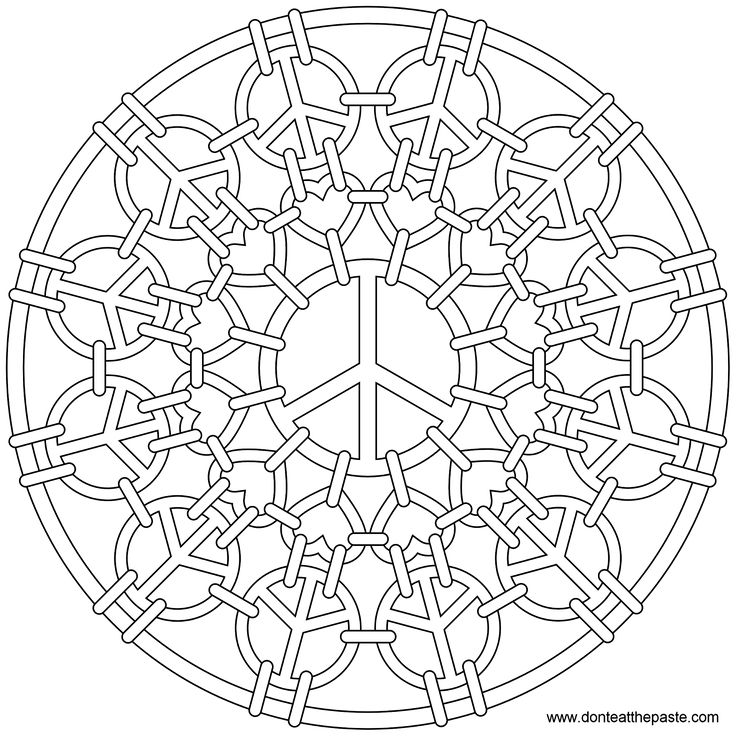 peace symbol mandala to color also available in jpg format - Peace Sign Mandala Coloring Pages