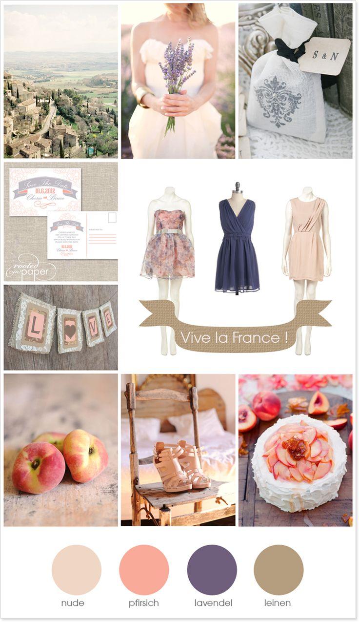 Hochzeit Vive la France Südfrankreich Lavendel Pfirsich Braut Trauzeugin Save the date