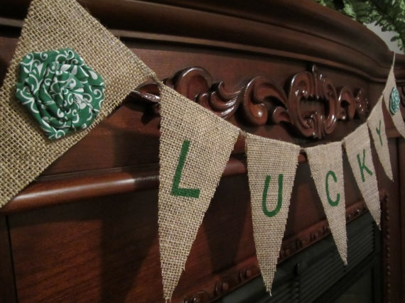 St. Patrick's Day Lucky Burlap Bunting/Banner with Green Rosettes