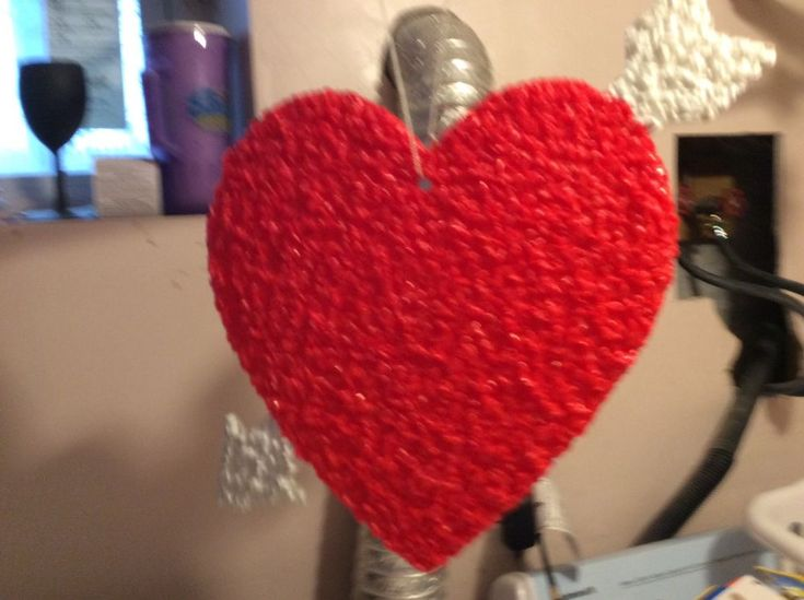 Vintage Valentine's Day Heart Arrow Melted Plastic Popcorn Decoration Hanging
