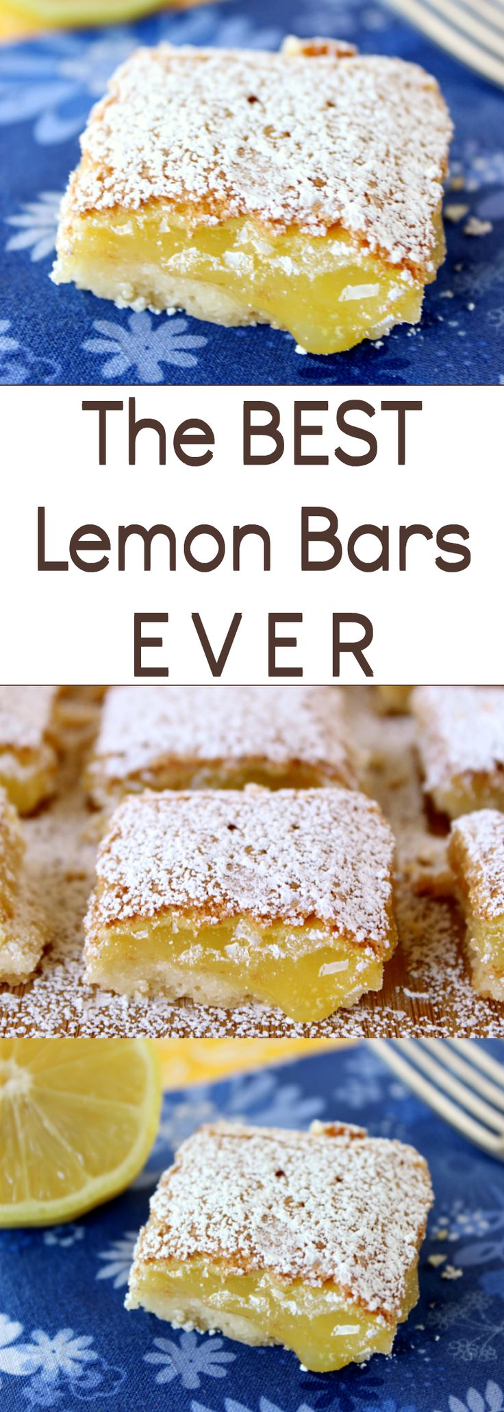 The BEST Lemon Bars EVER are a great way to welcome Spring! If the weather's not cooperating where you are, these bars will surely give your taste buds a tease and get your mind in Spring mode!