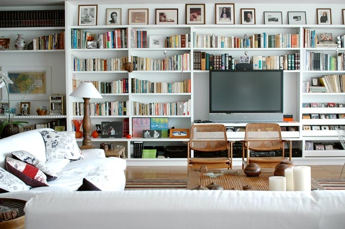 books and tv in the living room.
