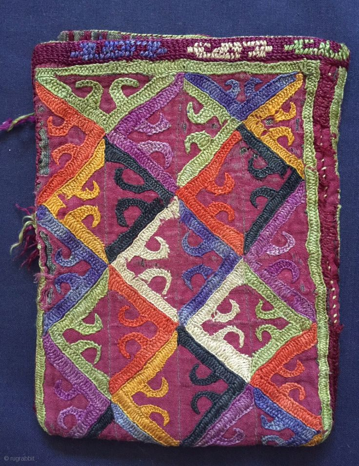 A Excellent example of Antique Turkoman / Turkmen Ersari tribe silk embroidered bag dating to late 19th century. Out of most central Asian silk bags, the Ersari types are some of the  ...