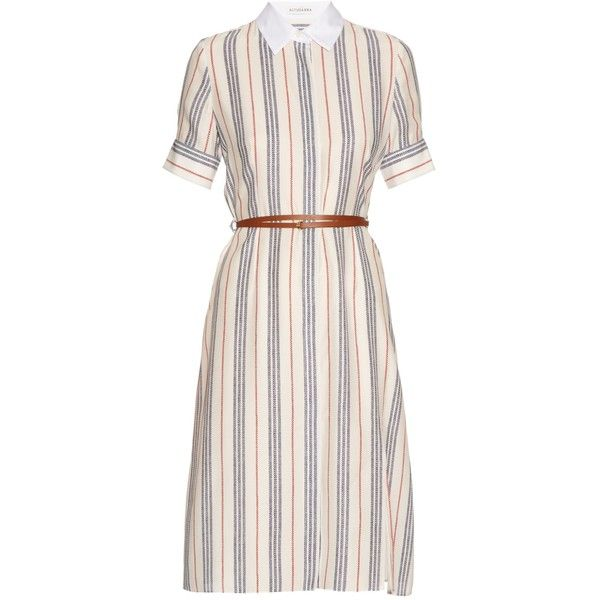 Altuzarra Kieran striped crepe de Chine shirtdress ($1,411) ❤ liked on Polyvore featuring dresses, red stripe, pink shirt dress, short sleeve dress, red short sleeve dress, striped shirt dress and reversible belt
