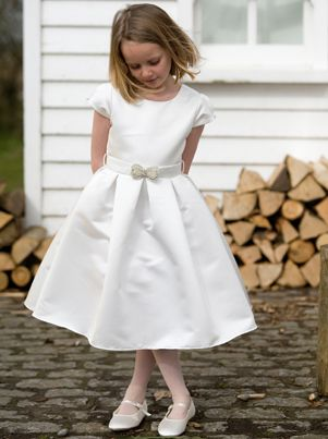 1950s inspired First Holy Communion Dress - Ruthie  - Couture Designer Nicki Macfarlane - Made to Order White or Ivory satin with capped sleeves and box pleated skirt.
