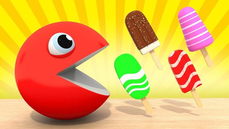 Pacman Ice Cream Learn Colors  Learning Cartoon For Children, Kids, Todd...