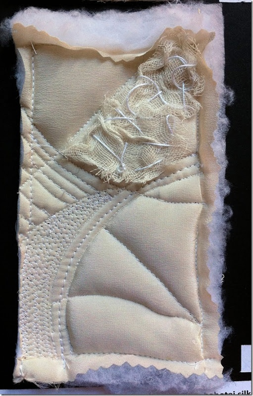 Wadded sample FIVE Daniela Maschera. Brilliant blog about contemporary embroidery and textile art.