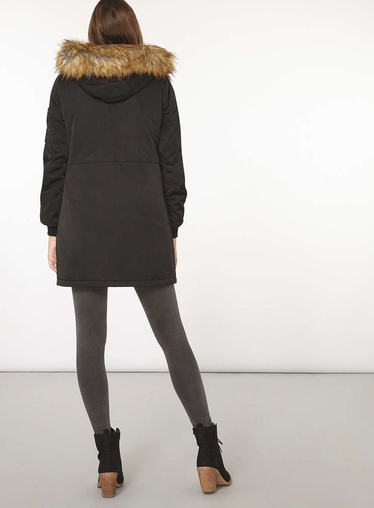 Womens Black and Neutral Parka- Black