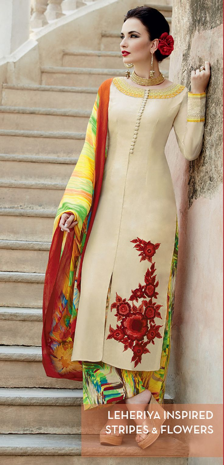 Beige Cotton Satin Kameez With Palazzo Pant 57237