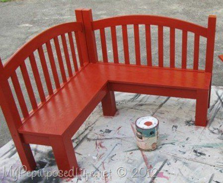 100 Ways to Repurpose and Reuse Broken Household Items Turn a headboard & footboard into a corner garden bench.  How cute!!
