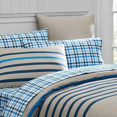 Seafarer Stripe Duvet Cover, Full/Queen, Khaki