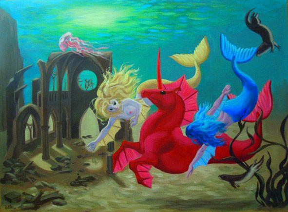 Unicornio marino Ilustración original pintada al óleo