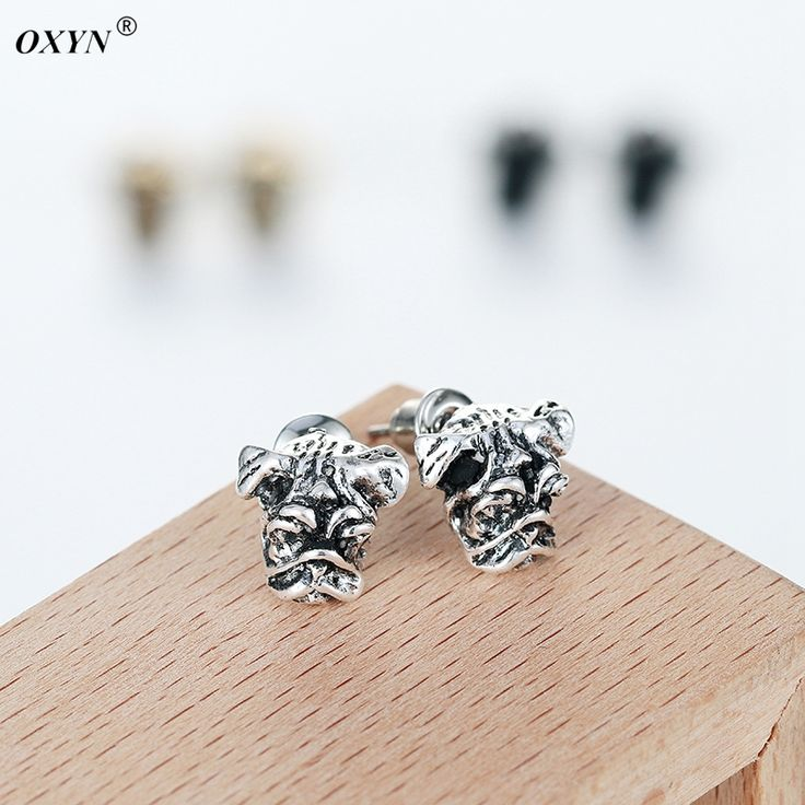2016 Hot Sale Vintage Silver Hippie Chic Handmade Pug Dog Ring Earrings Cute Animal For woman and Men Fine Jewelry