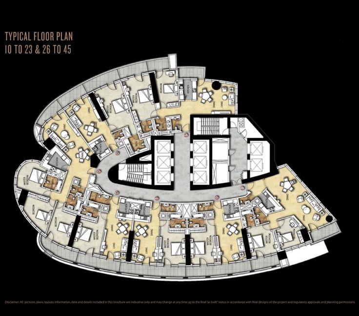 Paramount Damac Towers Floor Plans - Downtown, Dubai, UAE.