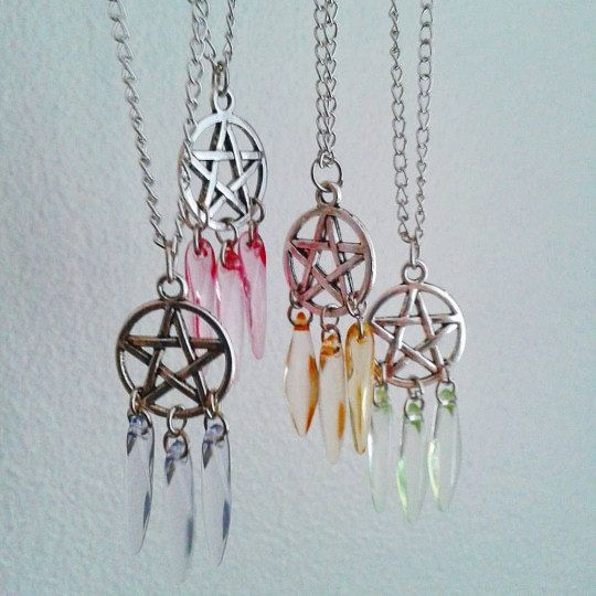 Dream catcher pentagram necklace, pentacle necklace, pastel goth on Etsy