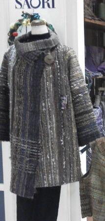 Beautiful coat made from saori cloth