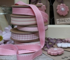 East of India pink ribbon with cream stitches