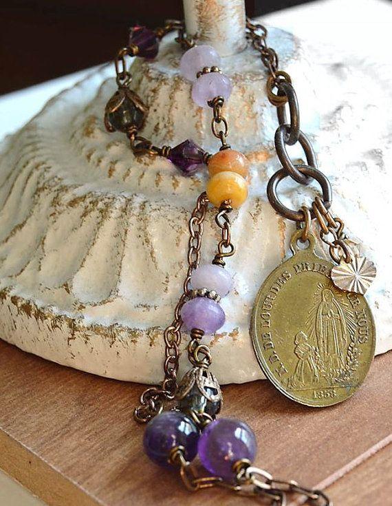 Catholic Religious Jewelry Virgin Mary by FifteenMagpieLane