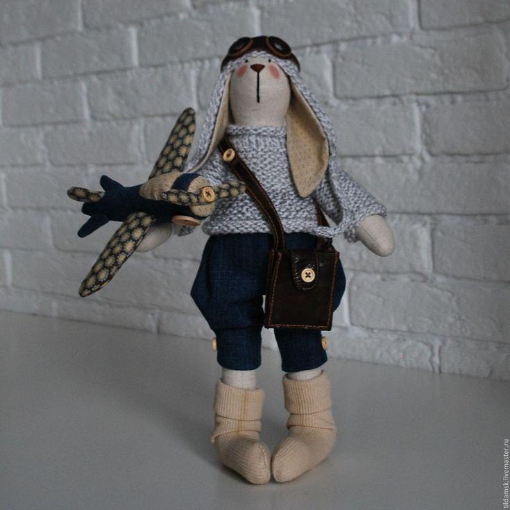 Купить Тильда зайчик с самолетом - интерьерная кукла, тильда заяц, зайка, подарок, подарок девушке