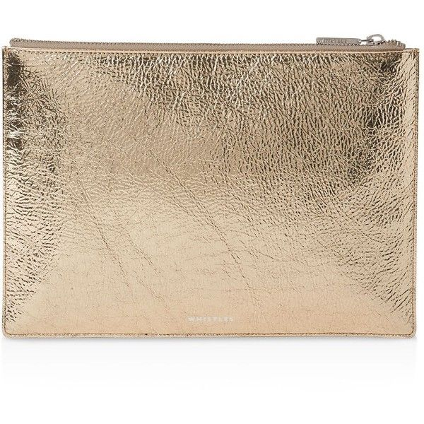 Whistles Metallic Medium Leather Clutch ($145) ❤ liked on Polyvore featuring bags, handbags, clutches, metallic leather handbags, metallic purse, leather purses, leather clutches and beige handbags