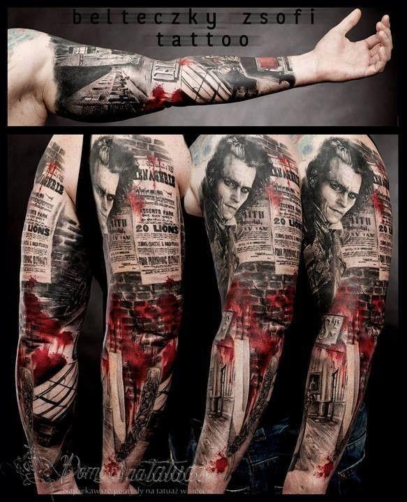 Sweeney Todd - świetny rękaw - Pomysł na tatuaż