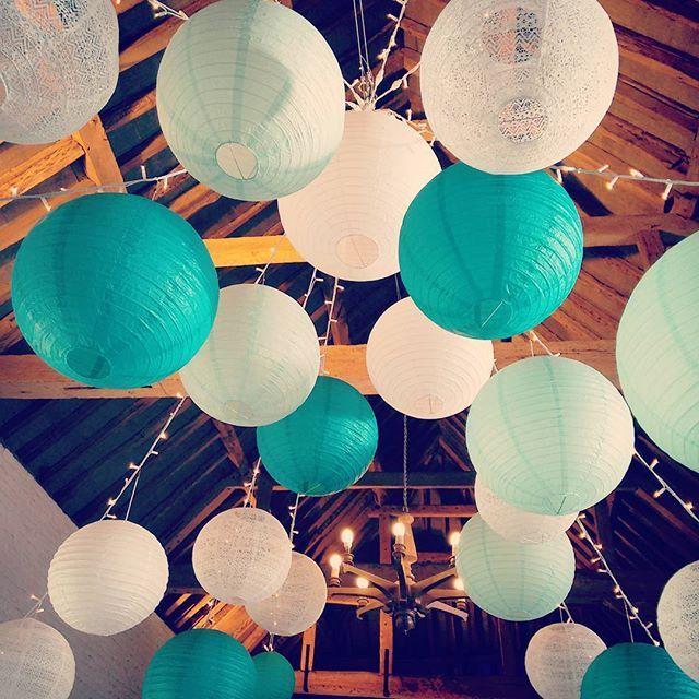Robin egg, teal and lace lanterns for the wedding fayre at @uftonweddings - see you there! #weddingdecor #uftoncourt #stylishbride #paperlanterns #lanternlove #fairylights #summerwedding #weddinginspiration
