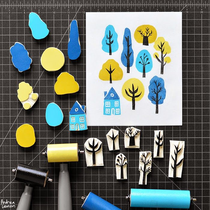 Handcarved stamps for blockprinting, such an inspiring technique: Trees Block Print Pattern by Andrea Lauren