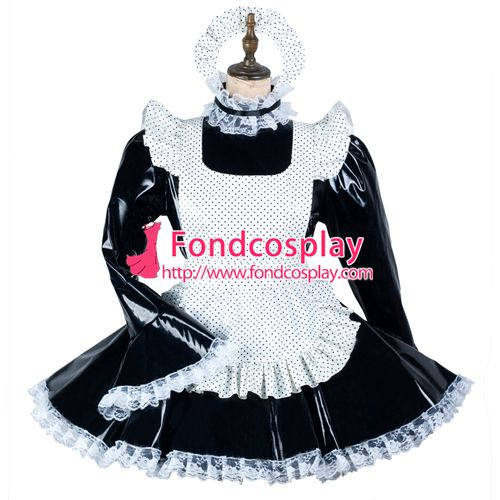 Sissy maid pvc dress lockable Uniform cosplay costume Tailor-made[G2452]