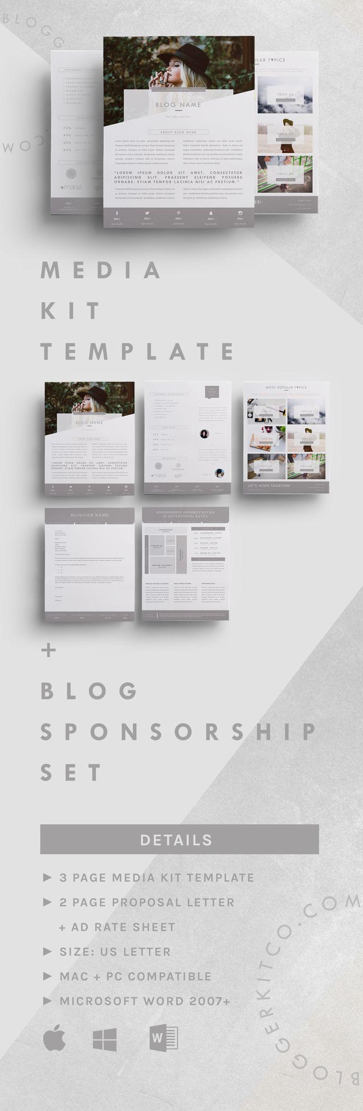 5 Page Media Kit Template and Blog Sponsorship Set