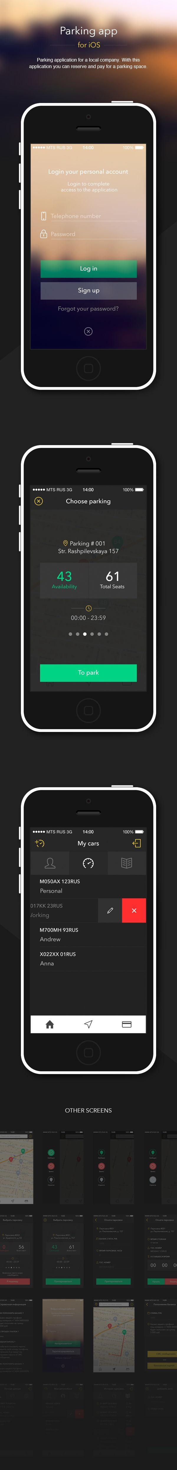 Parking app iOS by Maxim Sorokin, via Behance