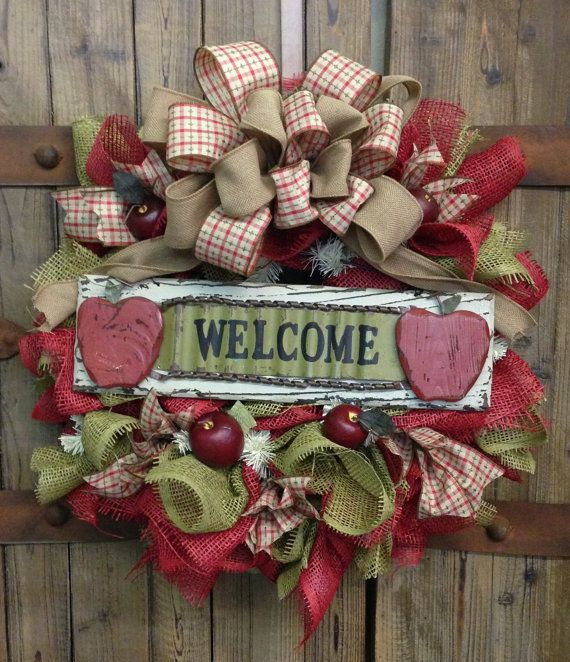 Apple wreath by WilliamsFloral on Etsy