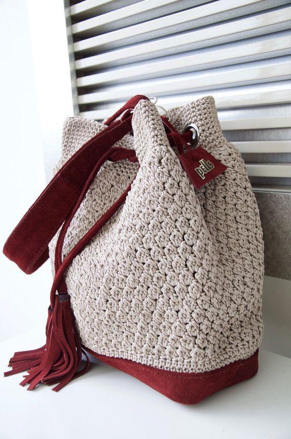 Crochet Messenger Bag by PELLSatelier on Etsy