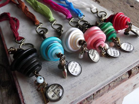 Button Stacks Necklaces, Wholesale Jewelry, 6 Pieces