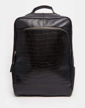 Mochila de vestir de cuero negro con bolsillo delantero de cocodrilo de ASOS