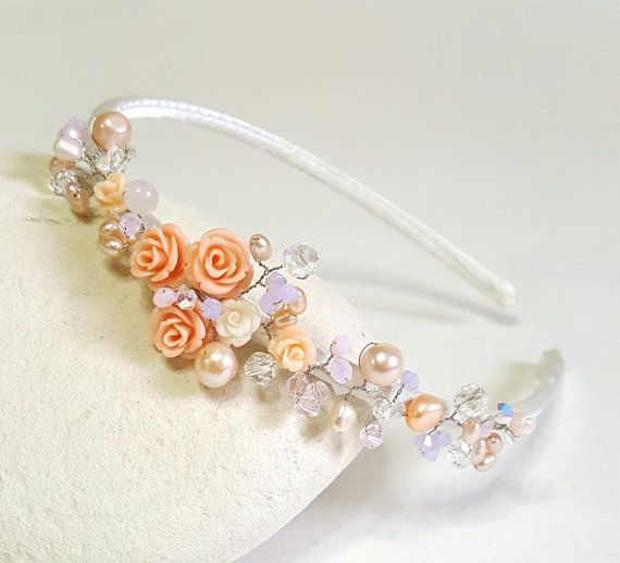 Tocado de Novia de rosas peluca de niña de las flores