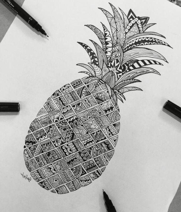dessin noir et blanc ananas dessin