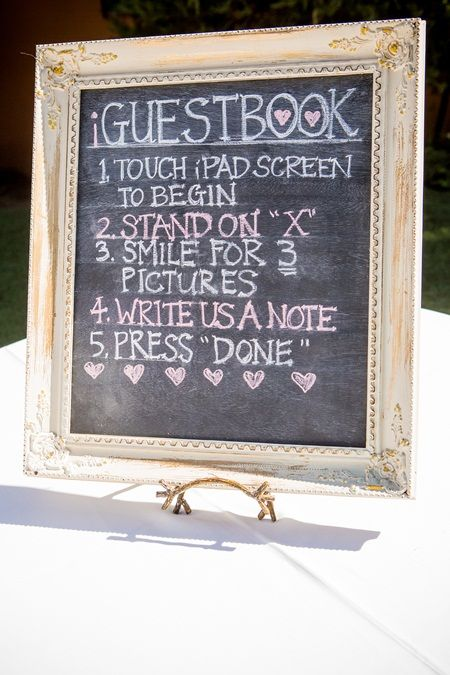 """Photo: Beautiful Day Photography  The couple's 75 guests signed an iGuestbook on the pair's iPad. """"The guests could take their own pictures and write us a little note as they arrived,"""" Laura explains."""